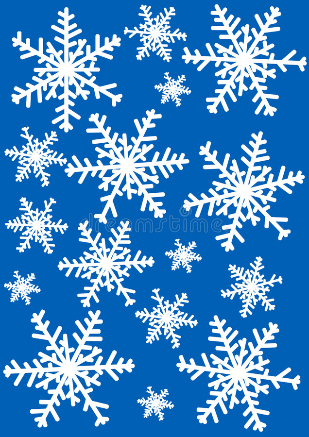 Snowflakes Illustration. Against blue background vector illustration