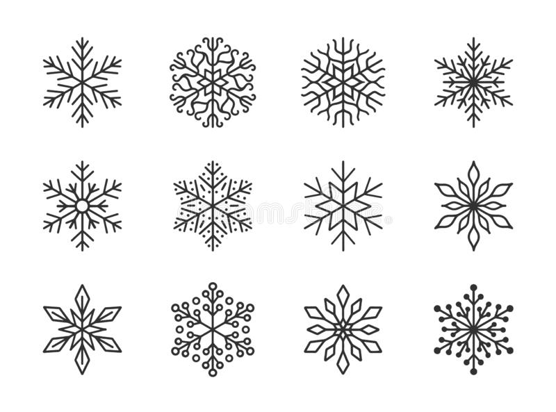 Snowflakes isolated on white background. Doodle line snow icons, hand drawn silhouette. Design element for christmas. Banner, cards. Xmas ornament royalty free illustration