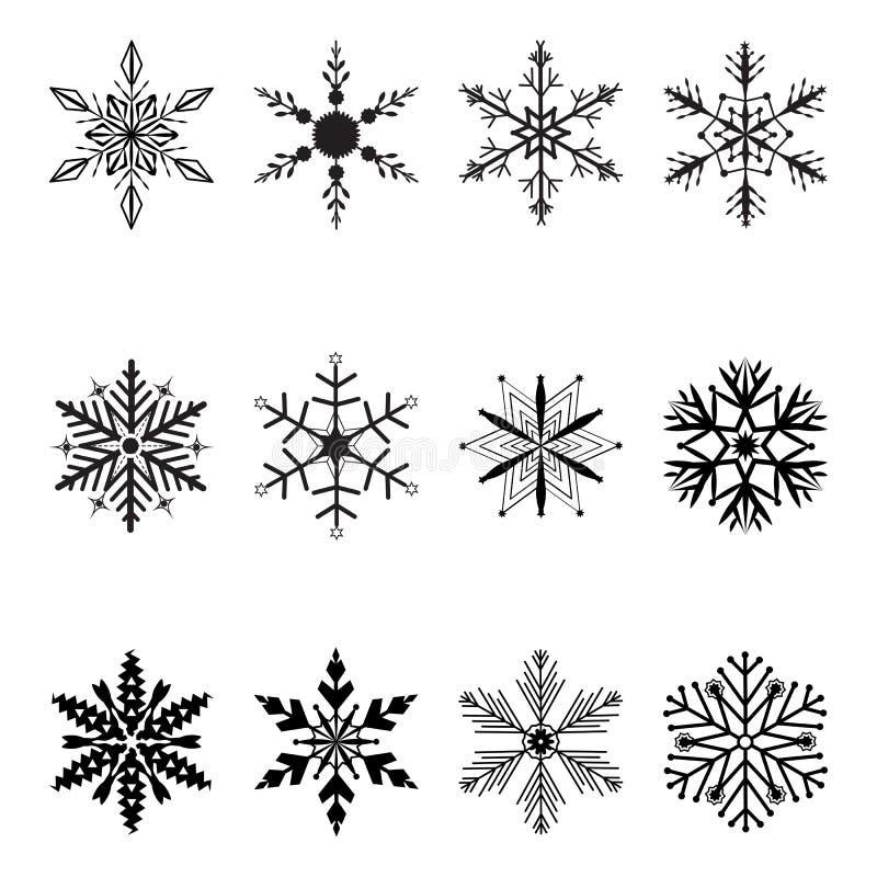 Snowflakes jul vektorikon stock illustrationer