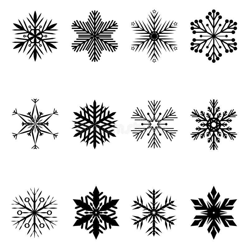 Snowflakes jul vektorikon royaltyfri illustrationer