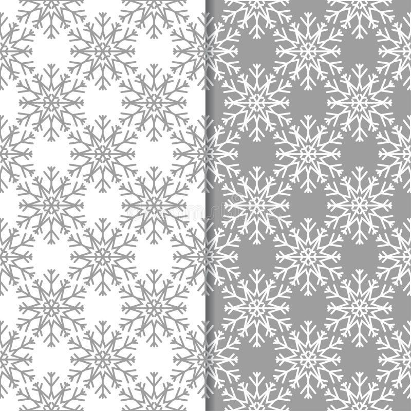 snowflakes mönsan seamless Grå färg- och vitvinterprydnader vektor illustrationer