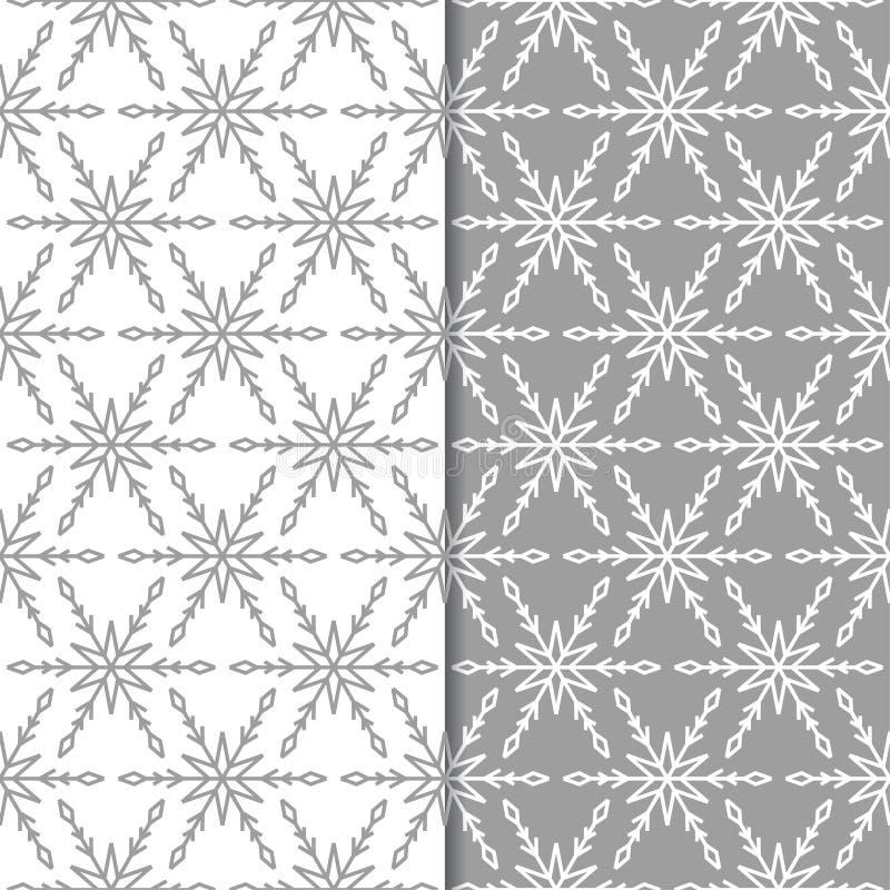 snowflakes mönsan seamless Grå färg- och vitvinterprydnader stock illustrationer
