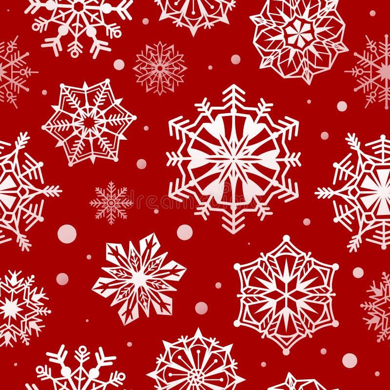 Snowflakes modello uniforme Carta da parati da neve di natale astratta, design di gelo decorativo di xmas Inverno bianco e rosso royalty illustrazione gratis