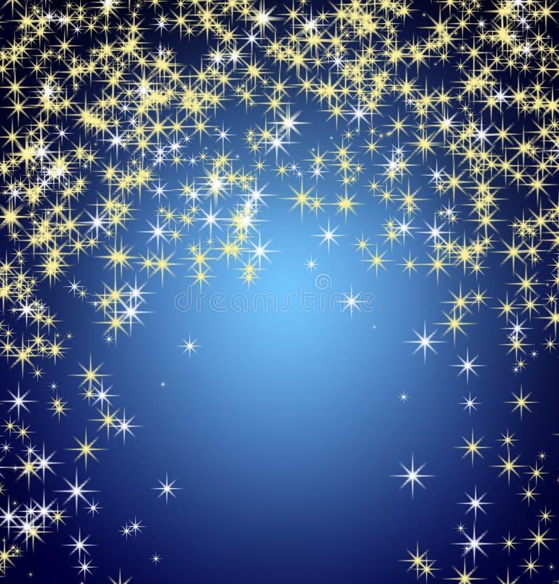 Snowflakes och stjärnor som stiger ned stock illustrationer