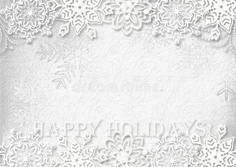 Snowflakes paper on white textured background. Greeting card stock illustration