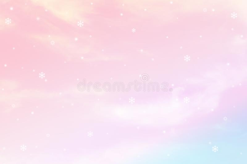 Snowflakes on pastel sky stock images