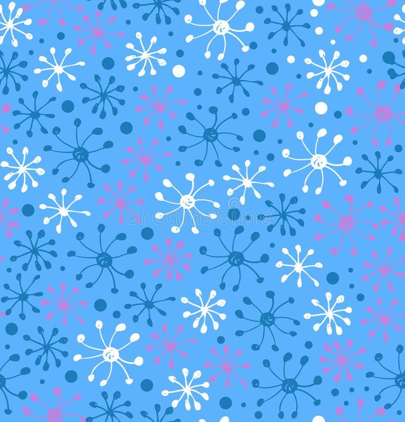 Snowflakes pattern. Decorative snowfall hand drawn background stock illustration