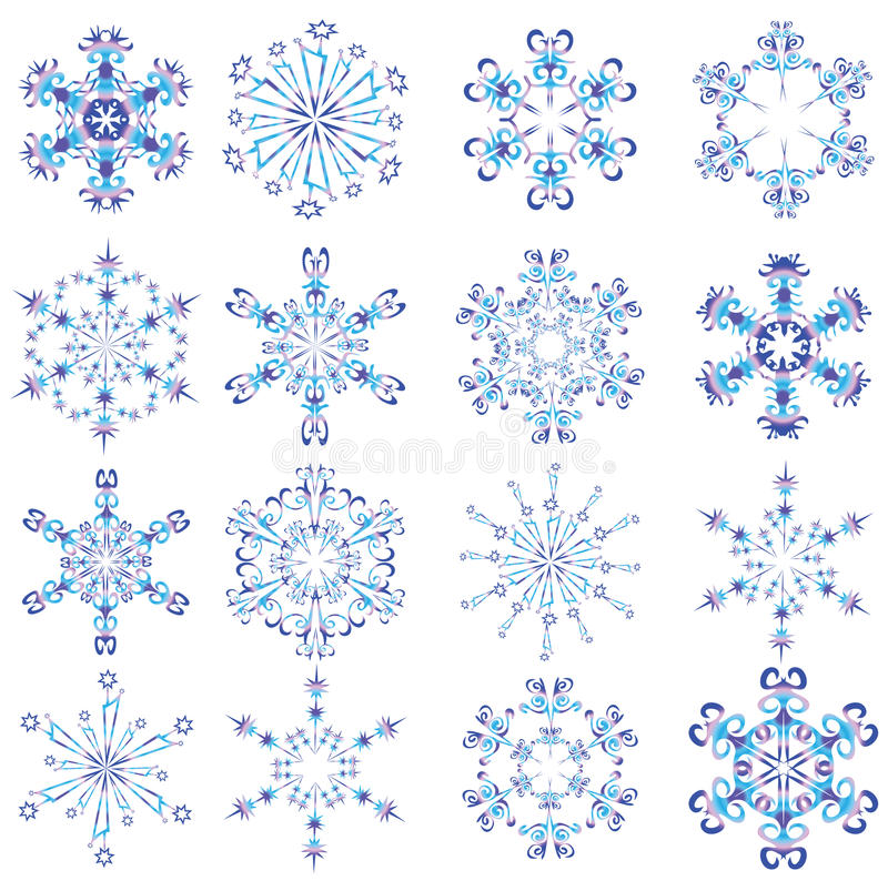 Snowflakes poured by different colours. Vector illustration vector illustration