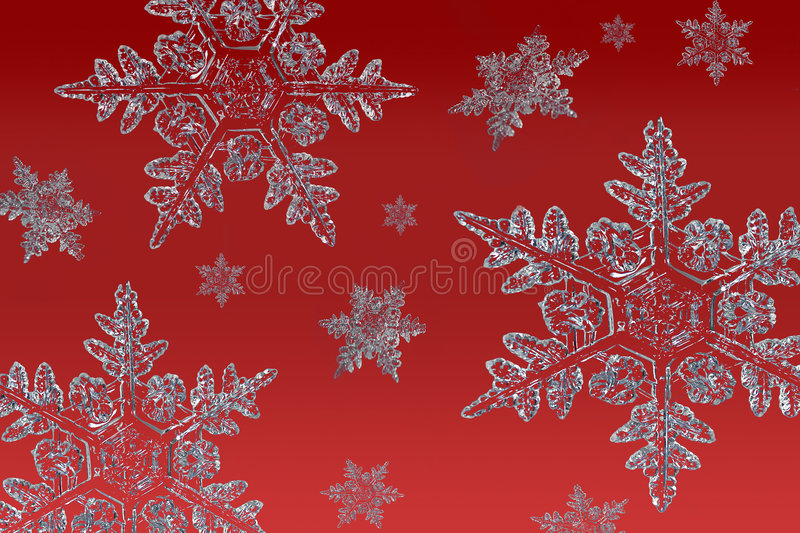 Snowflakes on red stock images