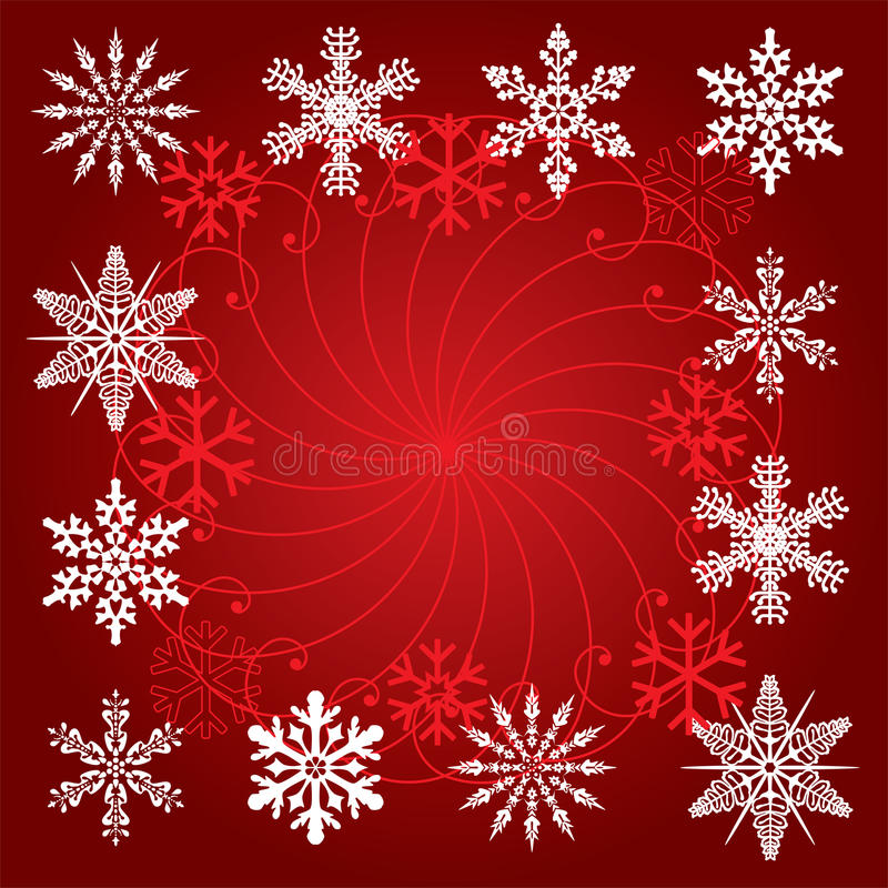 Download Snowflakes On Red Background Stock Vector - Illustration: 16666037