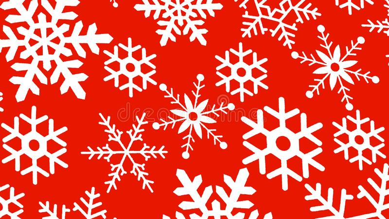 Snowflakes on a red background royalty free stock images