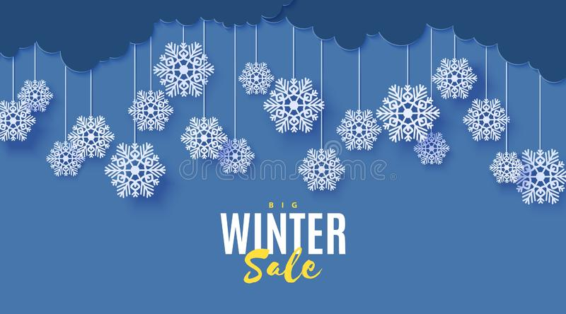 Snowflakes on ropes hanging in paper cut style. Clouds in blue night winter sky. Vector papercut winter banner concept royalty free illustration