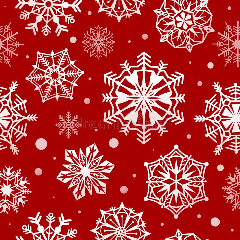 Snowflakes seamless pattern. Abstract christmas snow wallpaper, xmas decorative frost design. Red and white winter royalty free illustration