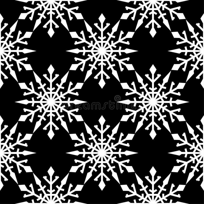 Snowflakes. Seamless pattern. Black and white winter ornament stock illustration