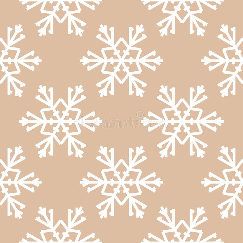 Snowflakes. Seamless pattern. Brown beige winter ornament vector illustration