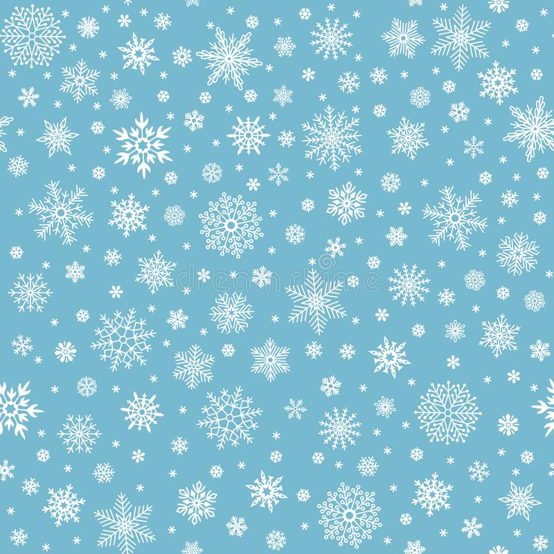 Snowflakes seamless pattern. Winter snow flake stars, falling flakes snows and snowed snowfall vector background stock illustration