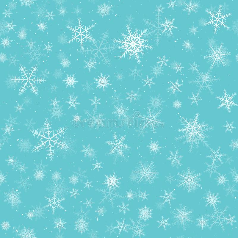 Snowflakes seamless pattern. Winter snow flake stars, falling flakes snows and snowed snowfall. Christmas holyday vintage decoration, fabric or gaft wrapping vector illustration