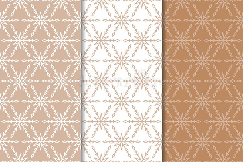 Snowflakes. Seamless patterns. Set of beige winter ornaments stock illustration