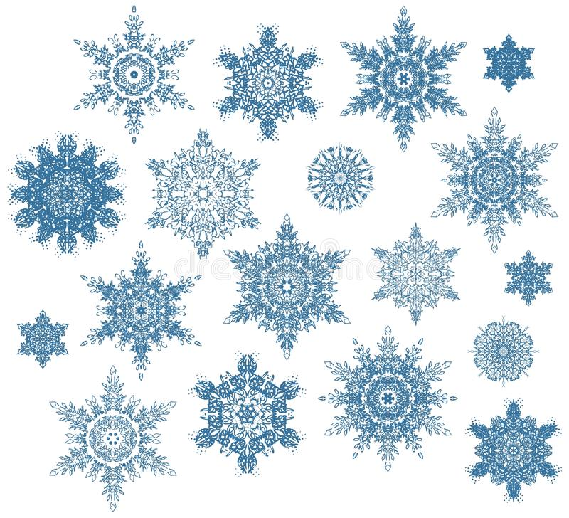 Download Snowflakes set stock image. Illustration of frost, blue - 25569767