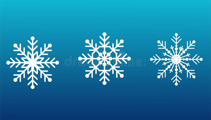 Snowflakes set on isolated blue background. Snow elements for Happy New Year and Merry Christmas holidays greeting card decoration royalty free stock image