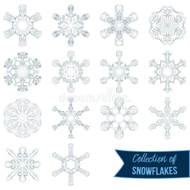Set of vector blue snowflakes. Winter ornament. Snowflakes collection. Snowflakes. Set of vector blue Snowflakes. Fine winter ornament stock illustration