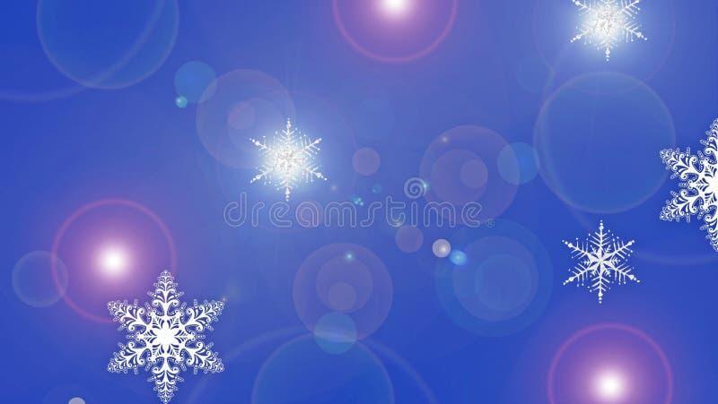 Snowflakes sullo sfondo blu fotografia stock