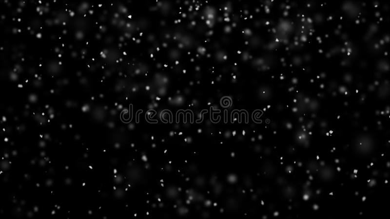 Snowflakes in turbulent air 3D render royalty free illustration