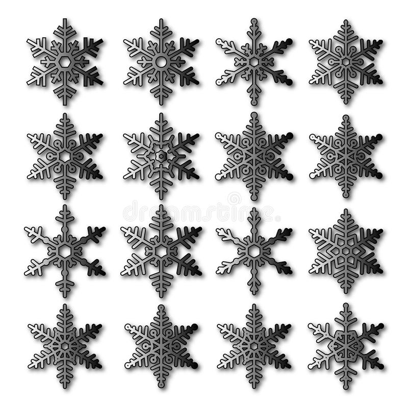 Snowflakes vector collections on white background royalty free stock photo