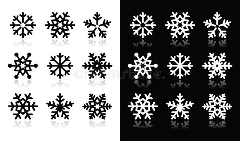 Snowflakessymboler med skugga på svartvitt vektor illustrationer