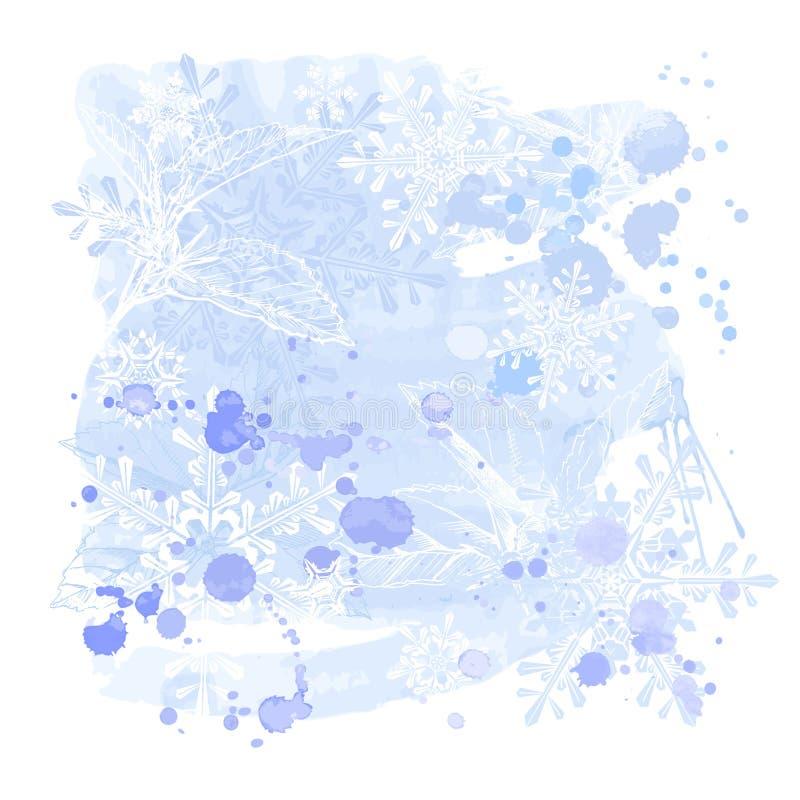 snowflakesvattenfärger royaltyfri illustrationer