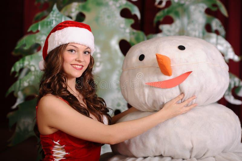 snowgirl礼服的少妇 库存照片