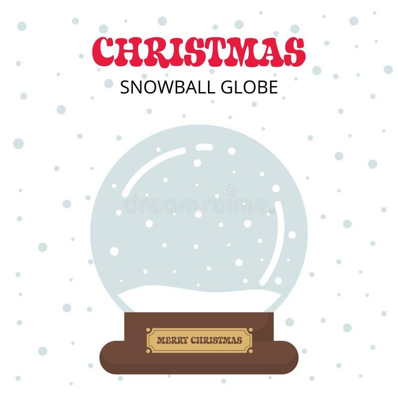 Snowglobe bonito do Natal dos desenhos animados com texto em um fundo branco ilustração stock