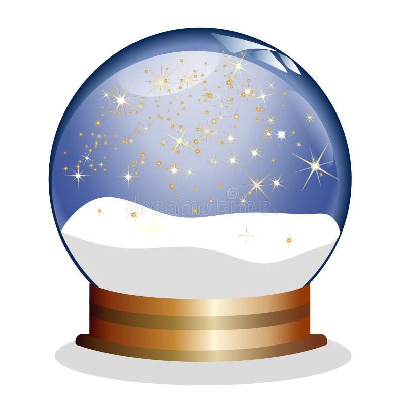 Snowglobe com estrelas douradas ilustração do vetor