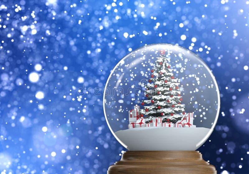 Snowglobe con el árbol de navidad y los presentes adentro stock de ilustración