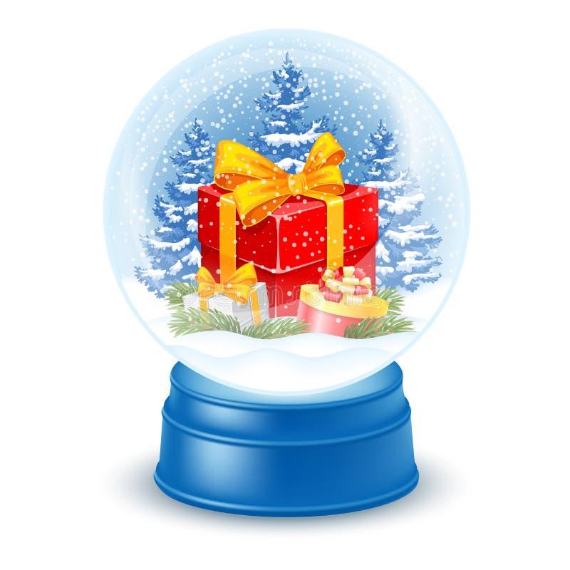 Snowglobe con il contenitore di regalo royalty illustrazione gratis