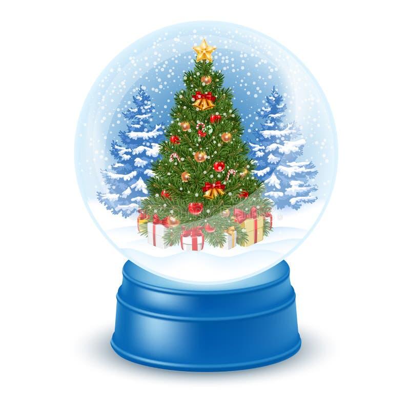 Snowglobe con l'albero di Natale illustrazione di stock