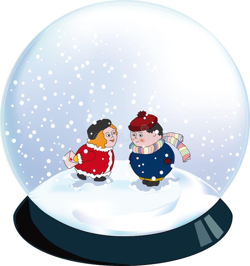 Snowglobe de Valentine illustration stock