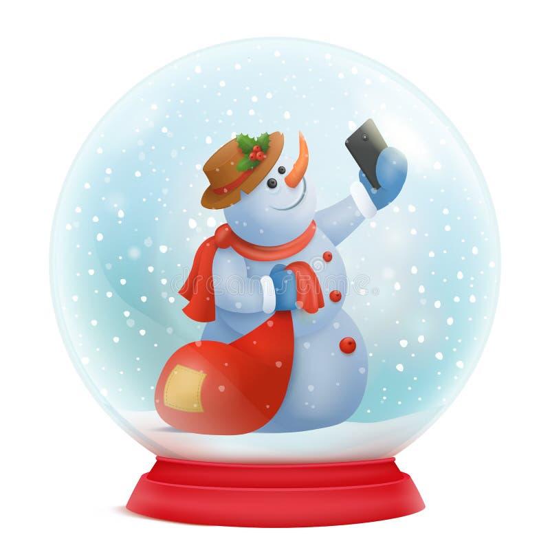 Snowglobe do Natal com interior engraçado do personagem de banda desenhada do boneco de neve ilustração stock
