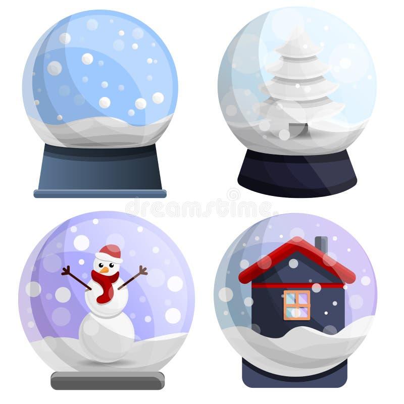 Snowglobe ikony set, kreskówka styl ilustracji
