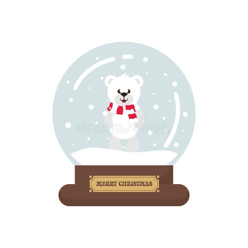 Snowglobe lindo de la Navidad de la historieta con el oso blanco libre illustration