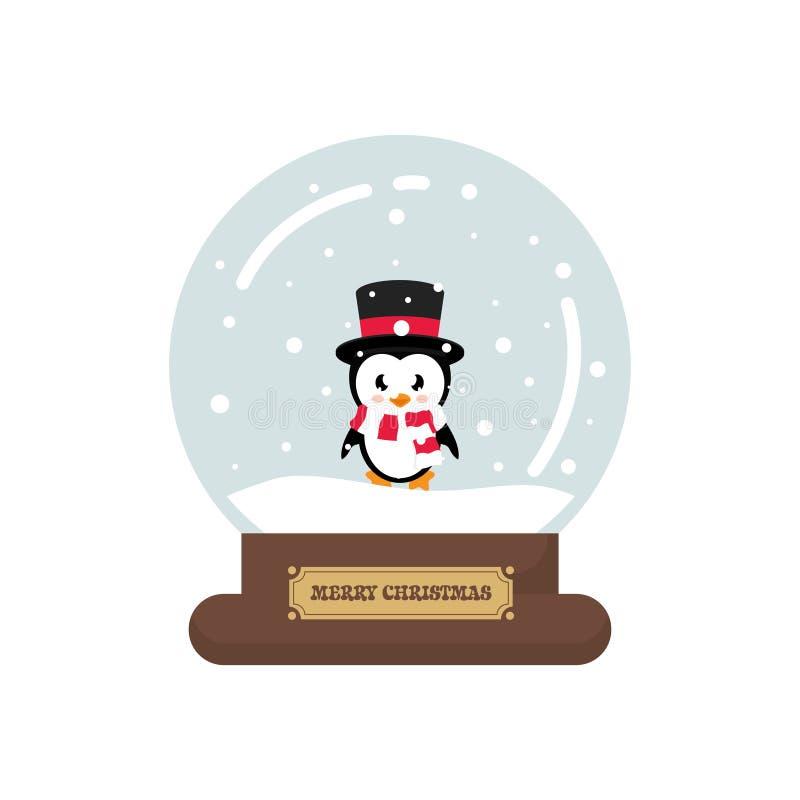 Snowglobe lindo de la Navidad de la historieta con el pingüino lindo stock de ilustración