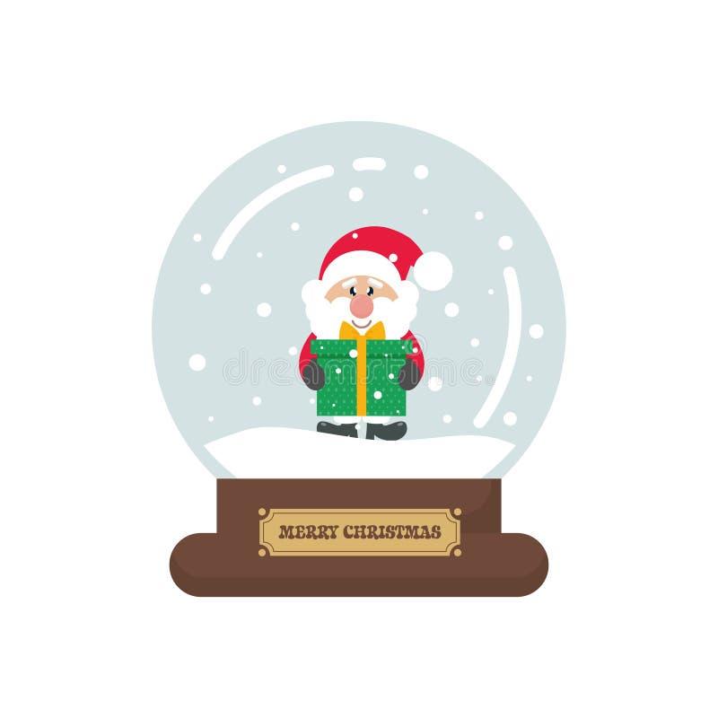 Snowglobe lindo de la Navidad de la historieta con Papá Noel con el regalo ilustración del vector
