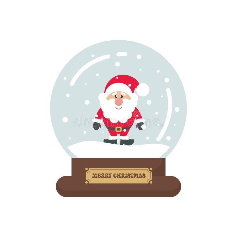 Snowglobe lindo de la Navidad de la historieta con Papá Noel en un fondo blanco libre illustration
