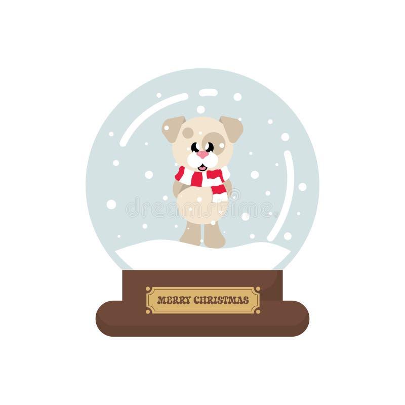 Snowglobe mignon de Noël de bande dessinée avec le chien d'hiver avec l'écharpe illustration stock