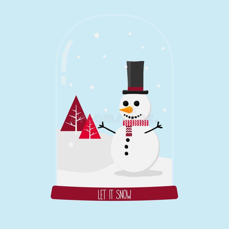 Snowglobe rouge de Noël de bonhomme de neige sur le fond bleu illustration libre de droits