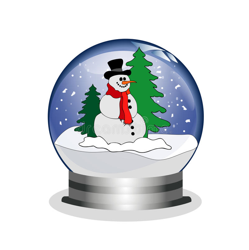 Snowglobe with snowman. Illustration of a snowglobe with snowman stock illustration