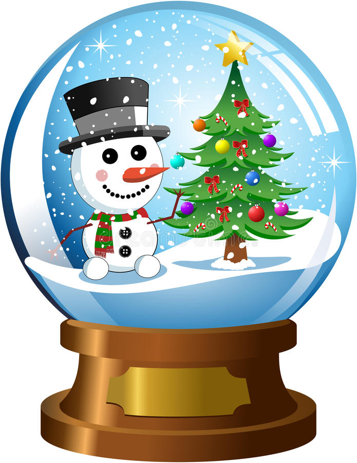 Snowglobe with Snowman and Christmas Tree vector illustration
