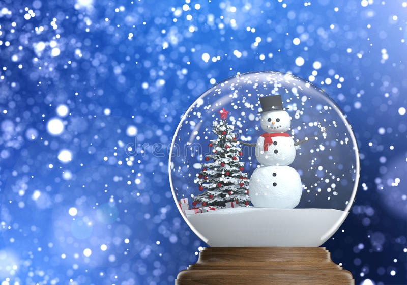 Snowglobe with snowman inside with copy space. Snowglobe with snowman and christmas tree inside on a blue snowy defocused background copy space and clipping path stock illustration