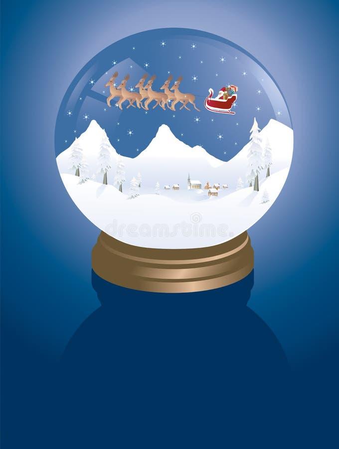 Snowglobe Winterdorf lizenzfreie stockbilder