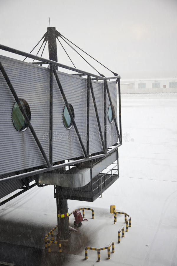 Snowing on the airport